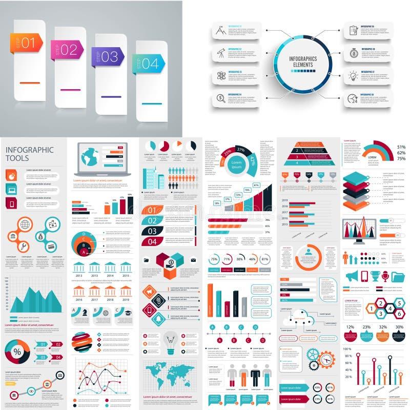 Insieme mega dell'elemento infographic di affari illustrazione vettoriale