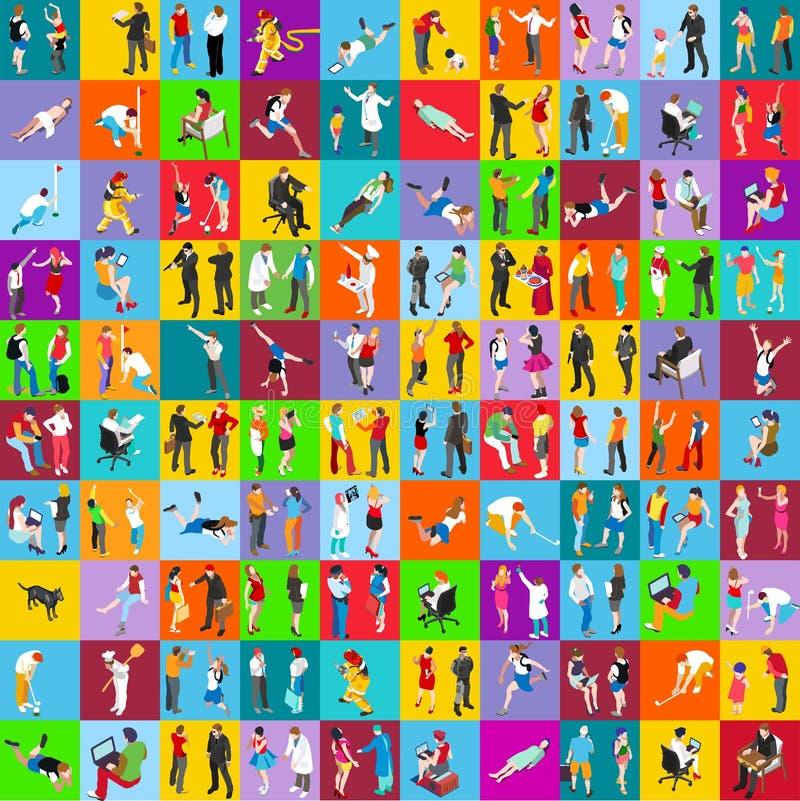 Insieme MEGA della gente 01 isometrico royalty illustrazione gratis