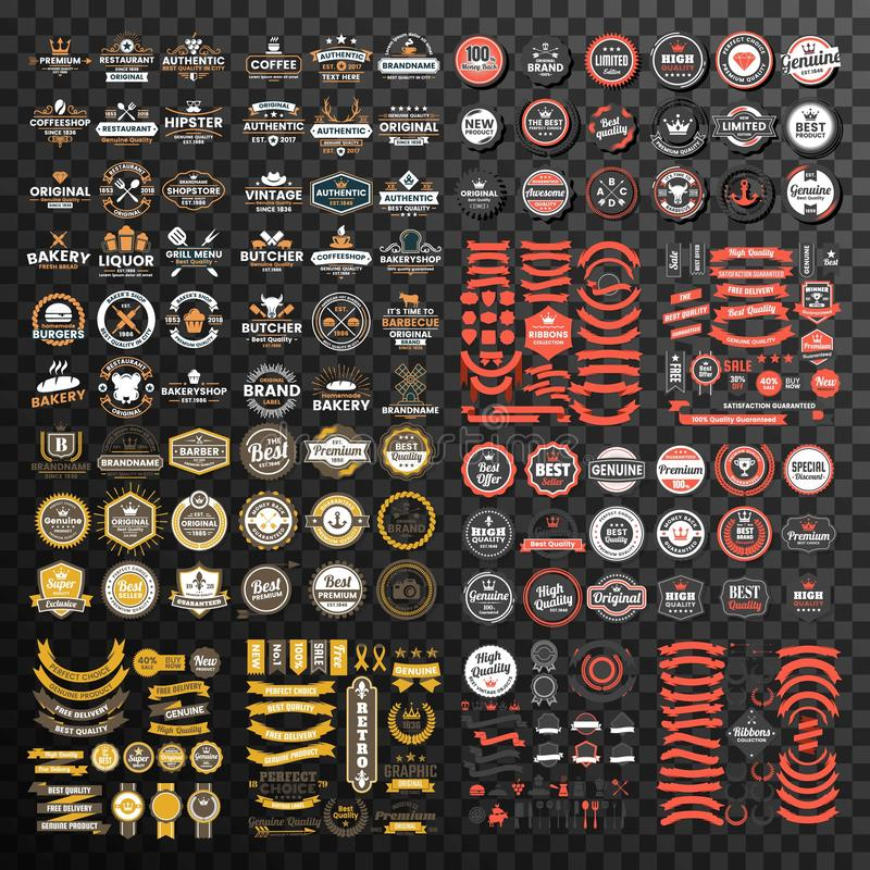 Insieme mega della raccolta premio del nastro e del distintivo illustrazione vettoriale