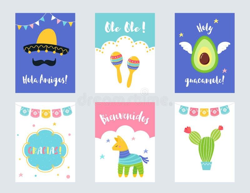 Insieme messicano di vettore degli inviti e delle carte del partito di festa royalty illustrazione gratis