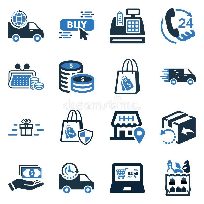 Insieme messo/online dell'icona di commercio elettronico dell'elemento dell'icona illustrazione vettoriale