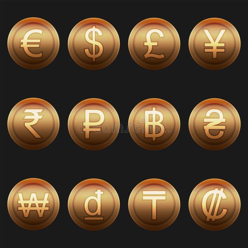 Insieme metallico brillante del bronzo delle icone di simboli delle monete di valuta illustrazione di stock