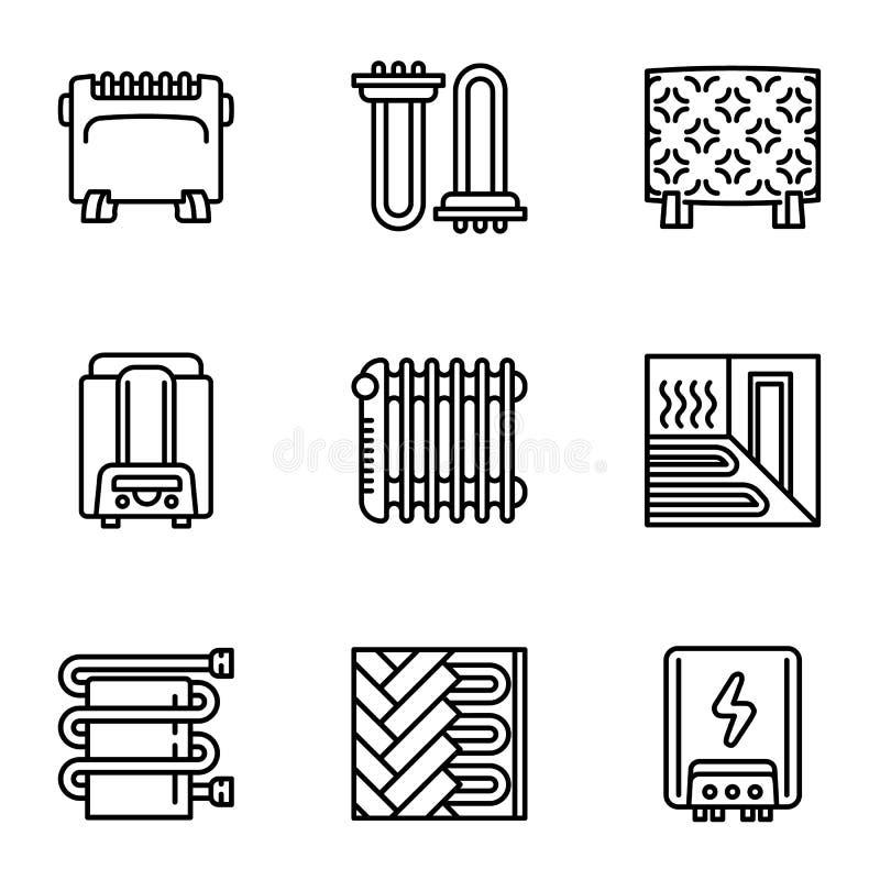 Insieme moderno dell'icona del riscaldamento della Camera, stile del profilo royalty illustrazione gratis
