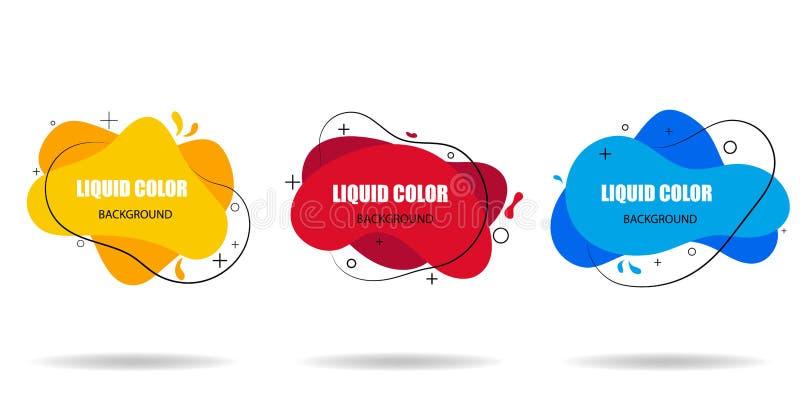Insieme moderno delle forme liquide astratte Insegne del modello con le forme fluide piane Modello di progettazione pronto per us illustrazione vettoriale