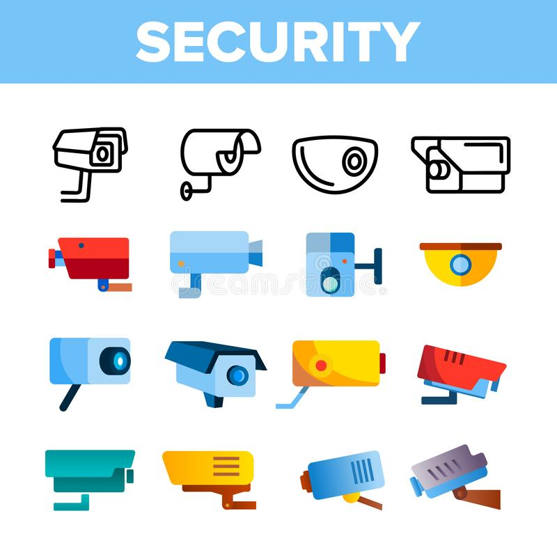 Insieme moderno delle icone di colore di vettore delle videocamere di sicurezza illustrazione vettoriale