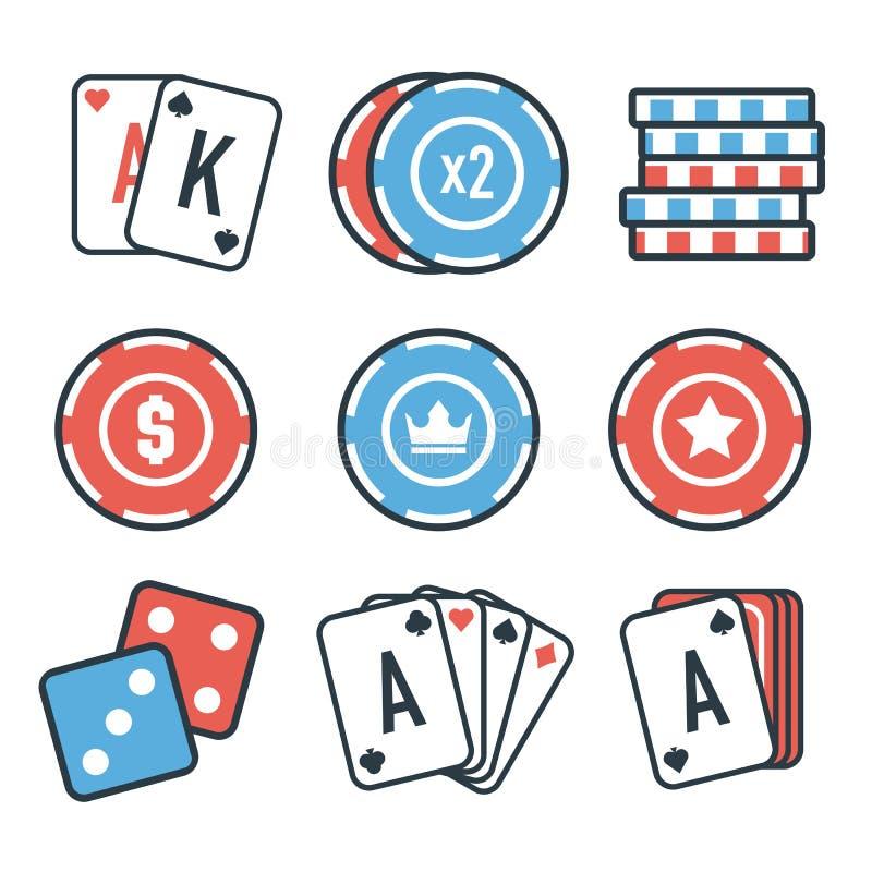 Insieme moderno delle icone variopinte del casinò e di gioco per l'applicazione del cellulare o del sito Web Elementi luminosi ed immagine stock