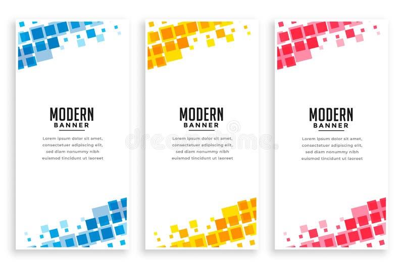 Insieme moderno delle insegne del mosaico di stile di affari illustrazione vettoriale