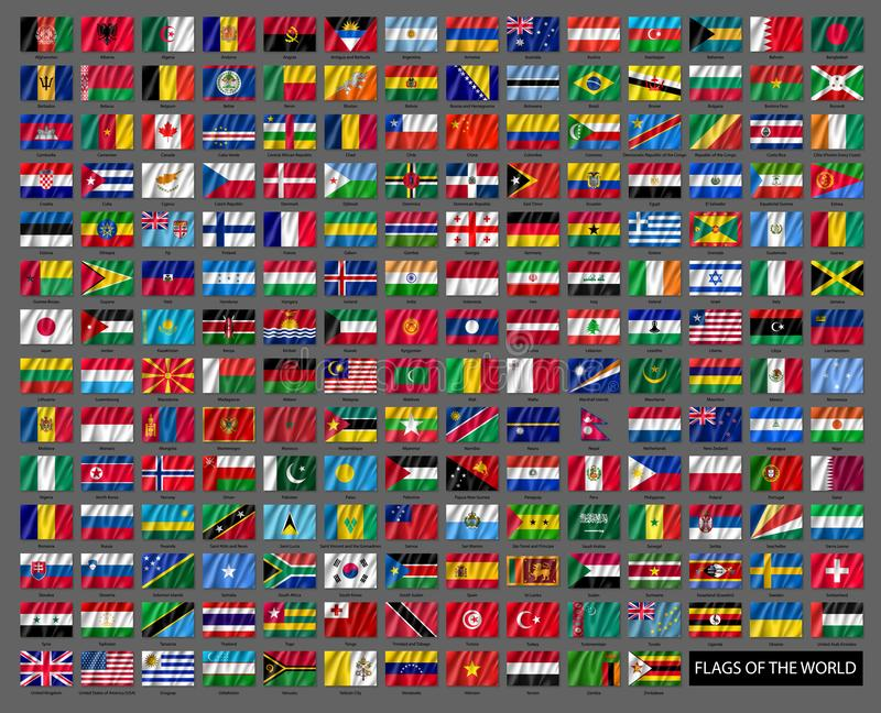 Insieme mondiale ondulato delle bandiere nazionali illustrazione vettoriale