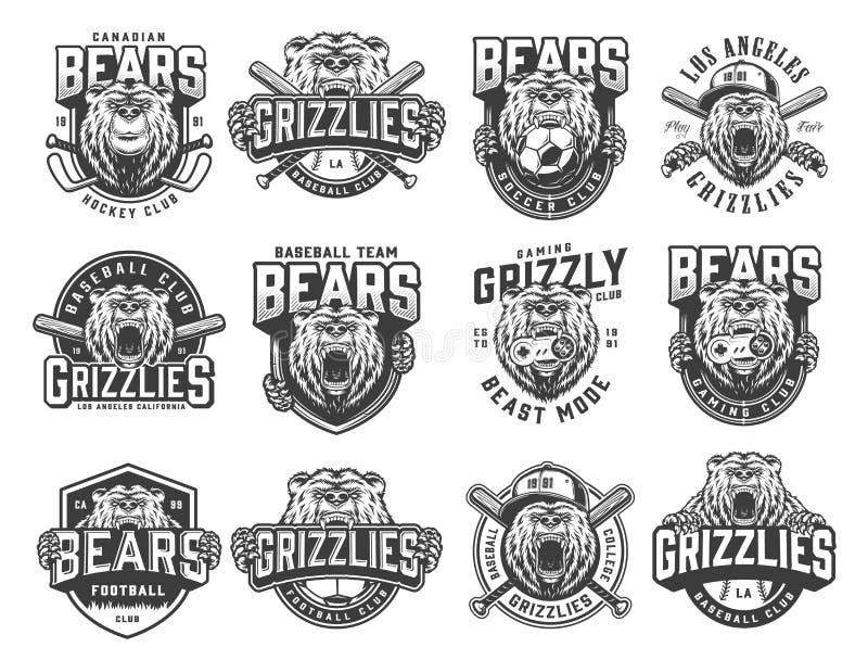 Insieme monocromatico d'annata degli emblemi degli sport di squadra illustrazione di stock