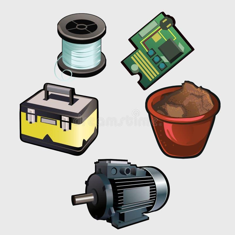 Insieme, motore, bobina, chip ed altro elettrici di industria illustrazione di stock