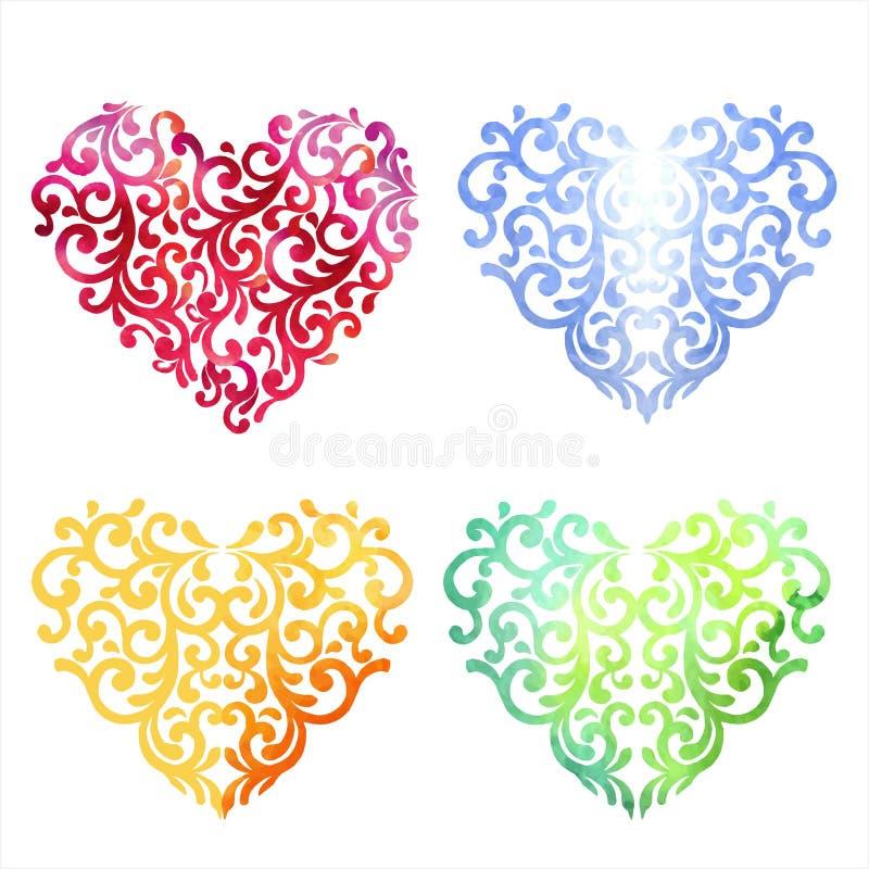 Insieme multicolore del cuore dell'acquerello Primavera o progettazione FO di estate illustrazione vettoriale