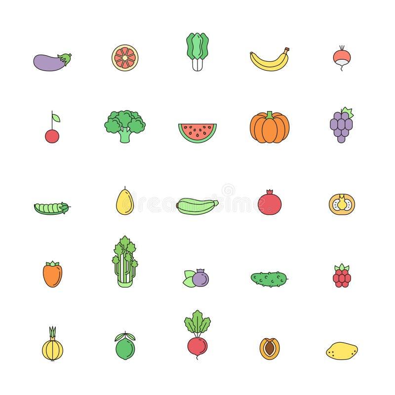 Insieme multicolore dell'icona del profilo della verdura e della frutta Parte due illustrazione di stock