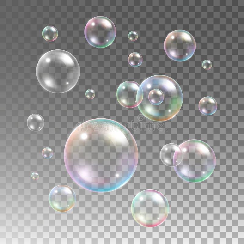 Insieme multicolore trasparente di vettore delle bolle di sapone illustrazione di stock
