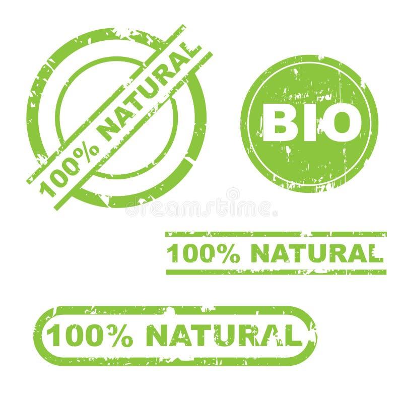 insieme naturale del bollo del grunge di 100% illustrazione di stock