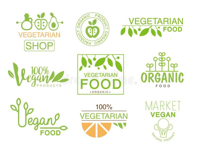 Insieme naturale dell'alimento del vegano dei colori arancio di Logo Signs In Green And del negozio del modello che promuovono st illustrazione di stock