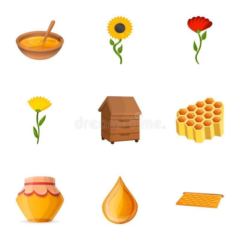 Insieme naturale dell'icona del miele, stile del fumetto illustrazione vettoriale