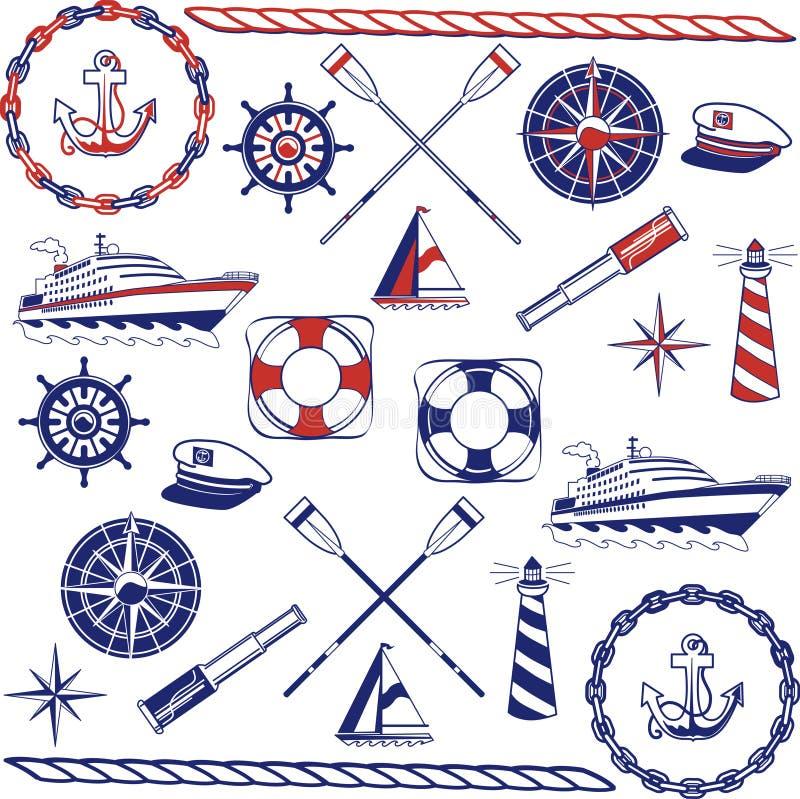 Insieme nautico dell'icona illustrazione vettoriale