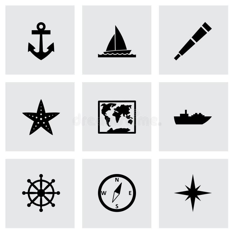 Insieme nautico dell'icona di vettore illustrazione vettoriale