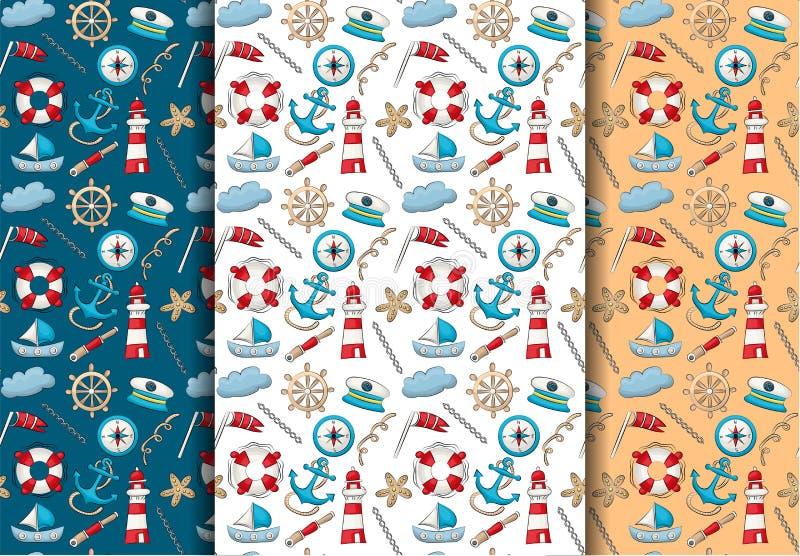 Insieme nautico marino di tema di viaggio Reticolo senza giunte La ripetizione del fondo per il tessuto, avvolgentesi, wallpaper royalty illustrazione gratis