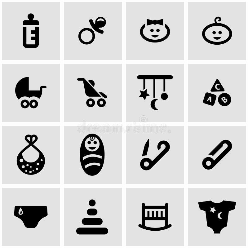 Insieme nero dell'icona del bambino di vettore illustrazione vettoriale