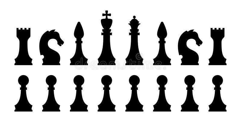Insieme nero dell'icona del pezzo degli scacchi Siluette isolate di vettore illustrazione vettoriale