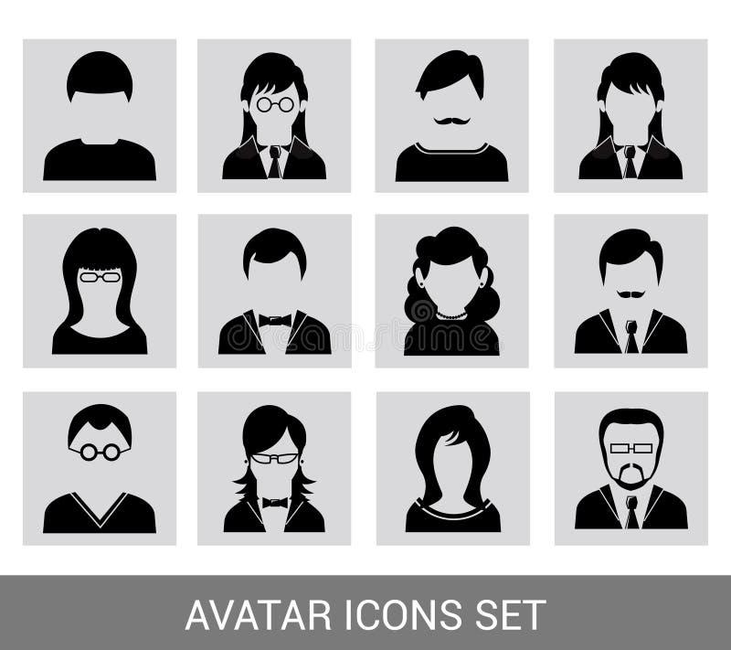 Insieme nero dell'icona dell'avatar royalty illustrazione gratis