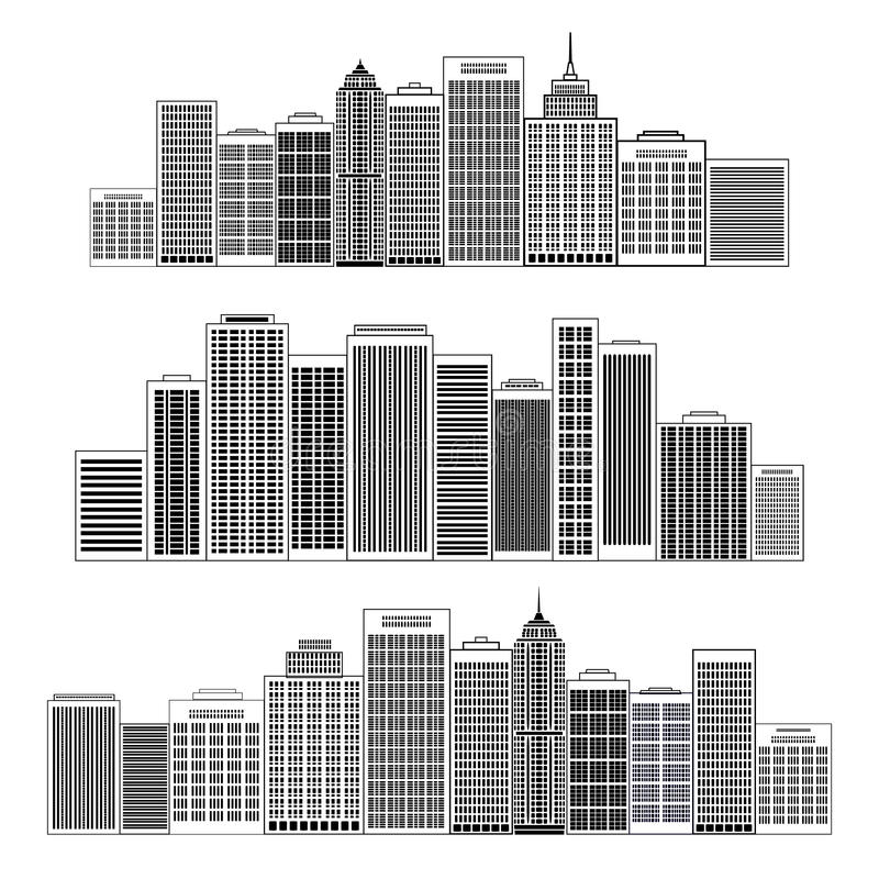 Insieme nero dell'icona della siluetta delle città Illustrazione di vettore illustrazione di stock