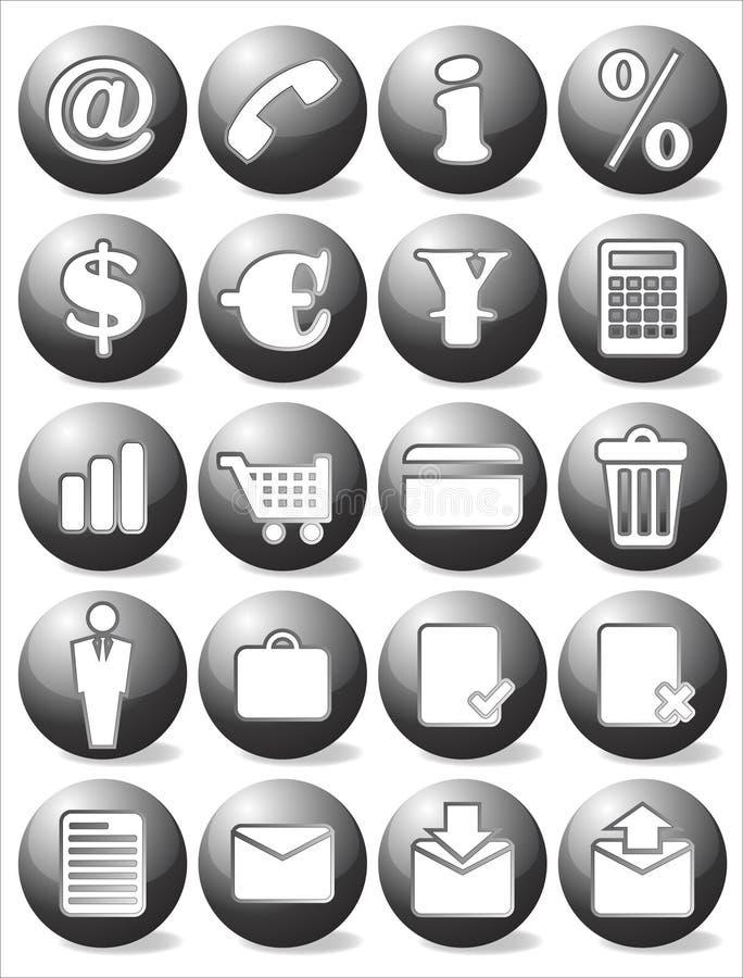 Insieme nero dell'icona di affari illustrazione vettoriale