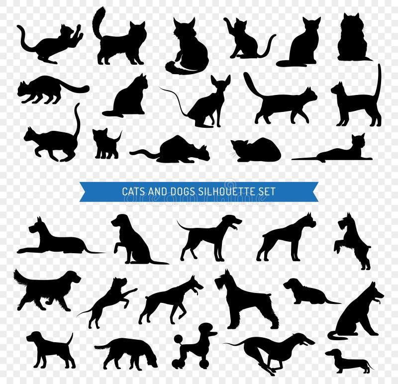 Insieme nero della siluetta dei gatti e dei cani illustrazione vettoriale
