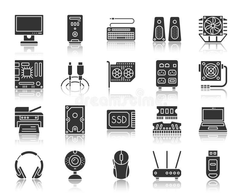 Insieme nero di vettore delle icone della siluetta del computer illustrazione vettoriale