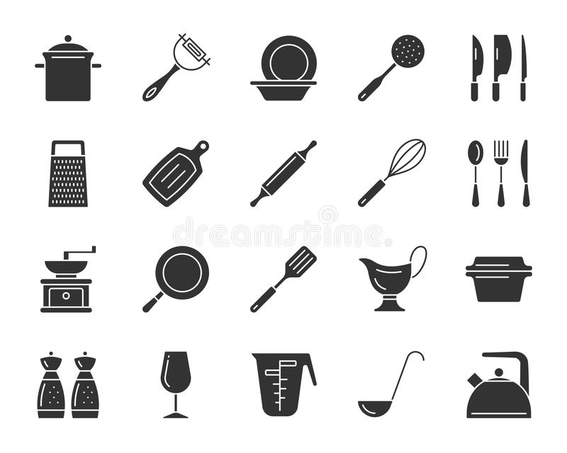 Insieme nero di vettore delle icone della siluetta dell'articolo da cucina illustrazione vettoriale