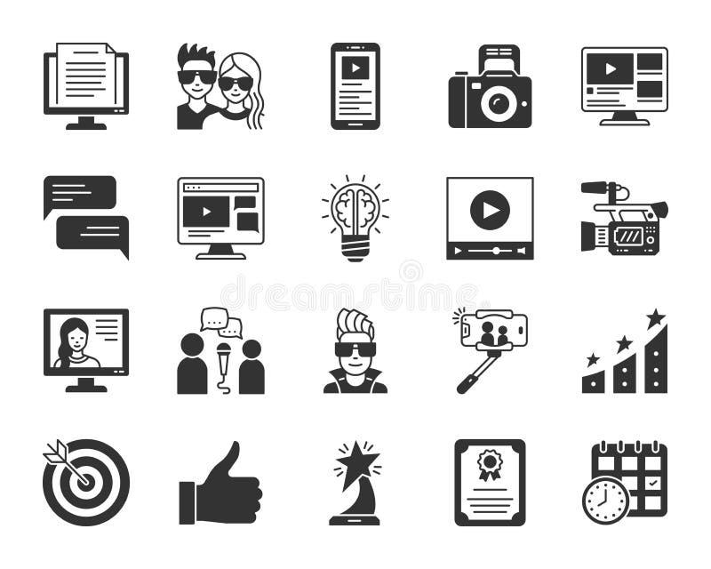 Insieme nero online di vettore delle icone della siluetta di blogging illustrazione vettoriale