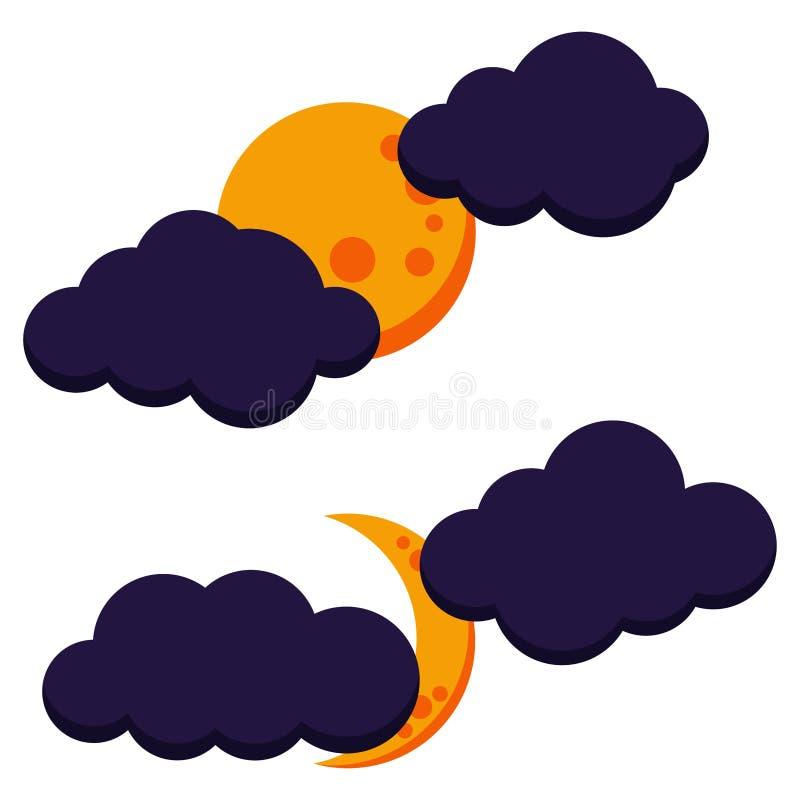 Insieme nuvoloso variopinto dell'icona di notte della luna di Halloween: luna piena e luna crescente illustrazione di stock