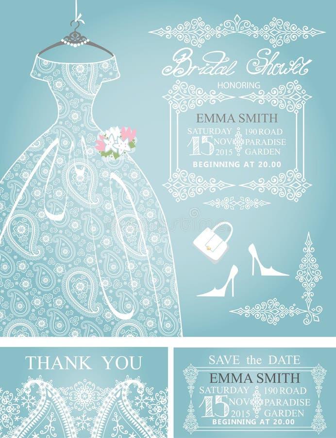 Insieme nuziale dell'invito della doccia Pizzo di Paisley di nozze illustrazione di stock