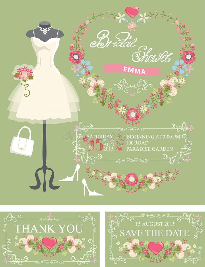 Insieme nuziale dell'invito della doccia Vestito, decorazione floreale royalty illustrazione gratis