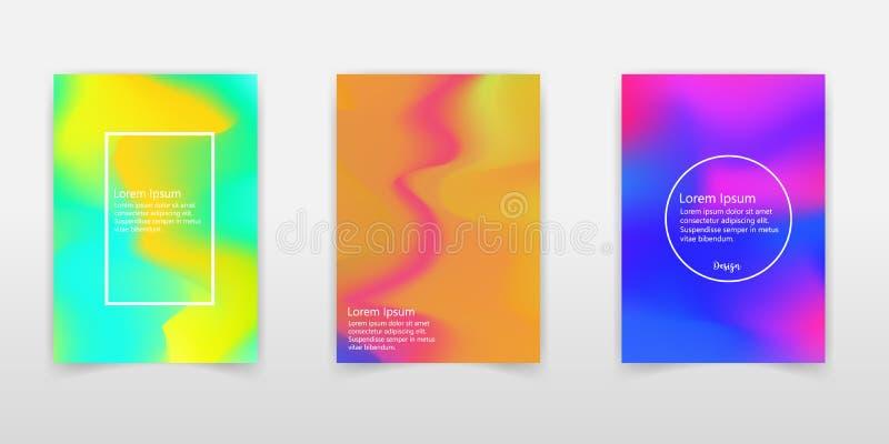 Insieme olografico del manifesto Sottragga gli ambiti di provenienza Hologra futuristico illustrazione di stock