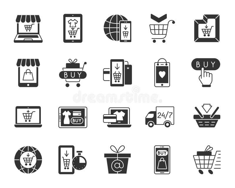 Insieme online di vettore delle icone della siluetta del nero del negozio illustrazione di stock