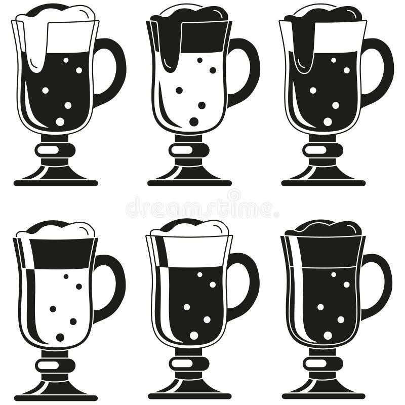 Insieme operato in bianco e nero della siluetta di vetro di birra illustrazione di stock