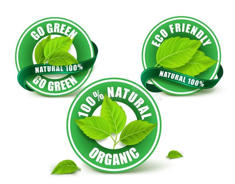 Insieme organico verde delle etichette, del distintivo o del marchio royalty illustrazione gratis
