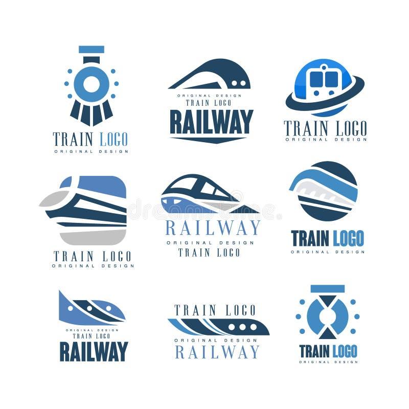 Insieme originale di progettazione di logo del treno, illustrazioni ferroviarie moderne di vettore del distintivo dell'emblema di royalty illustrazione gratis