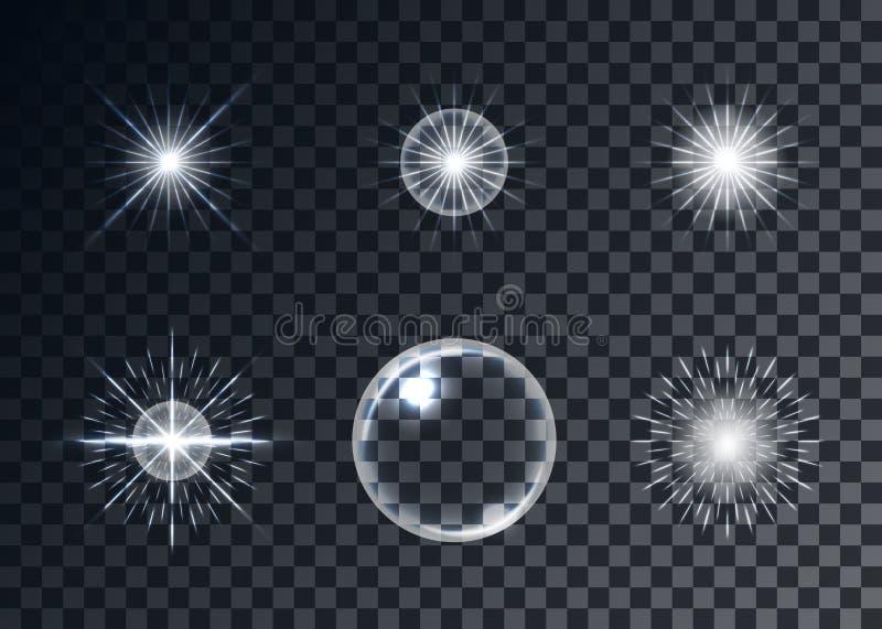 Insieme ottico di vettore dei chiarori, fondo trasparente, modelli illustrazione vettoriale