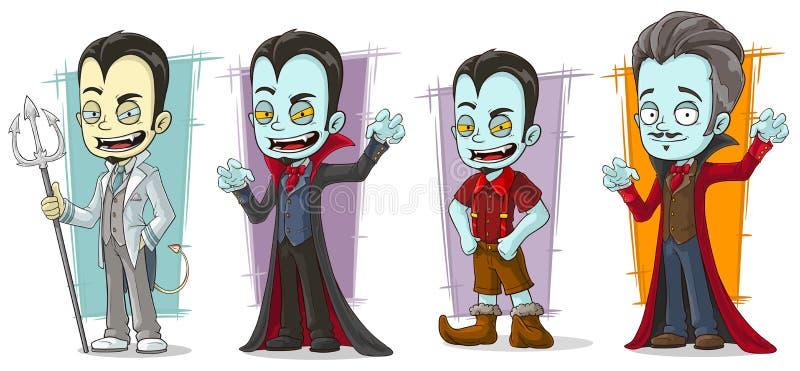Insieme pallido spaventoso di vettore dei caratteri della famiglia del vampiro del fumetto illustrazione vettoriale