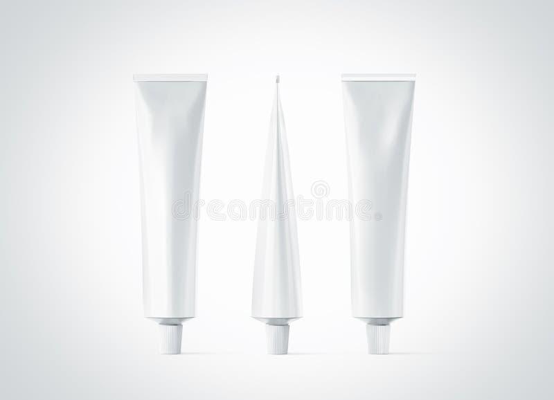 Insieme, parte anteriore, parte posteriore e lato bianchi in bianco del modello del tubo dell'unguento illustrazione vettoriale