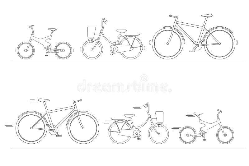 Insieme per il giro della famiglia, siluetta della bicicletta delle bici isolate su fondo bianco, bici per l'uomo, donna, ragazzo illustrazione di stock