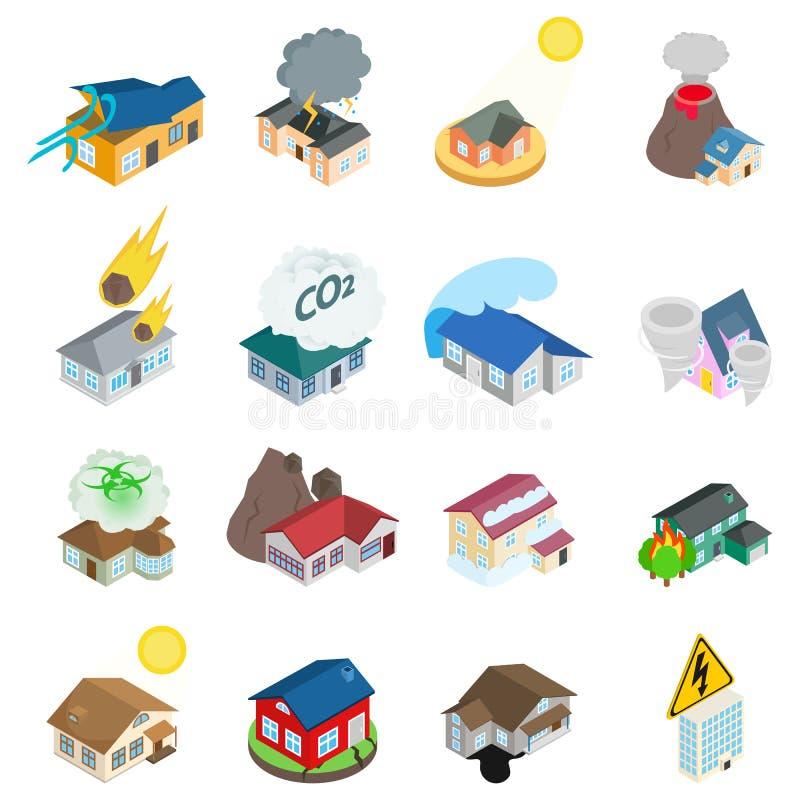 Insieme pericoloso delle icone dell'ambiente, stile isometrico royalty illustrazione gratis