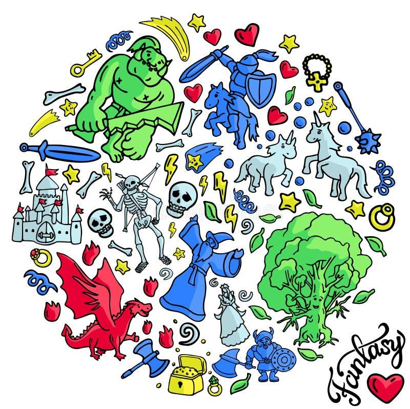 Insieme piacevole con i caratteri divertenti di fantasia del fumetto royalty illustrazione gratis