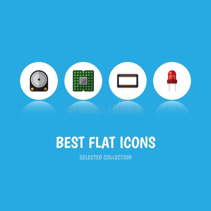 Insieme piano degli apparecchi dell'icona dell'unità, di Hdd, dell'elaboratore centrale e di altri oggetti di vettore Inoltre inc royalty illustrazione gratis