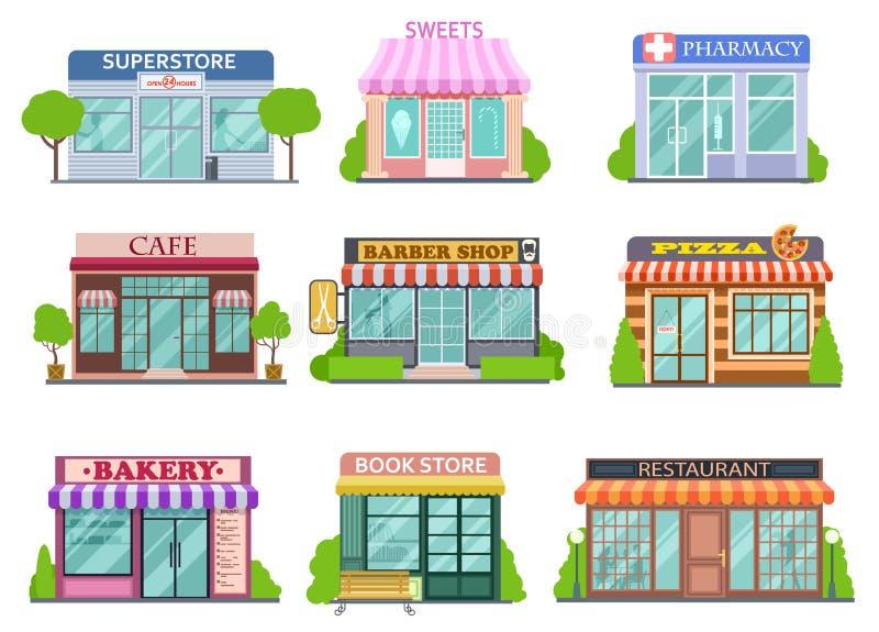 Insieme piano dei negozi Negozio di barbiere, libreria e farmacia Forno e raccolta di vettore di storie del fumetto isolata pizza illustrazione di stock