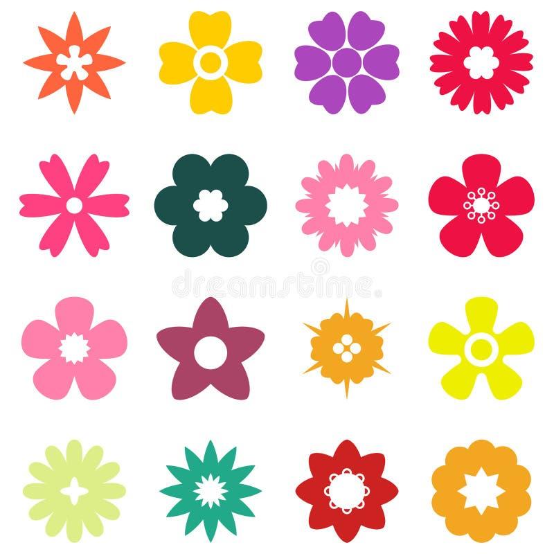 Insieme piano del fiore di colore illustrazione di stock