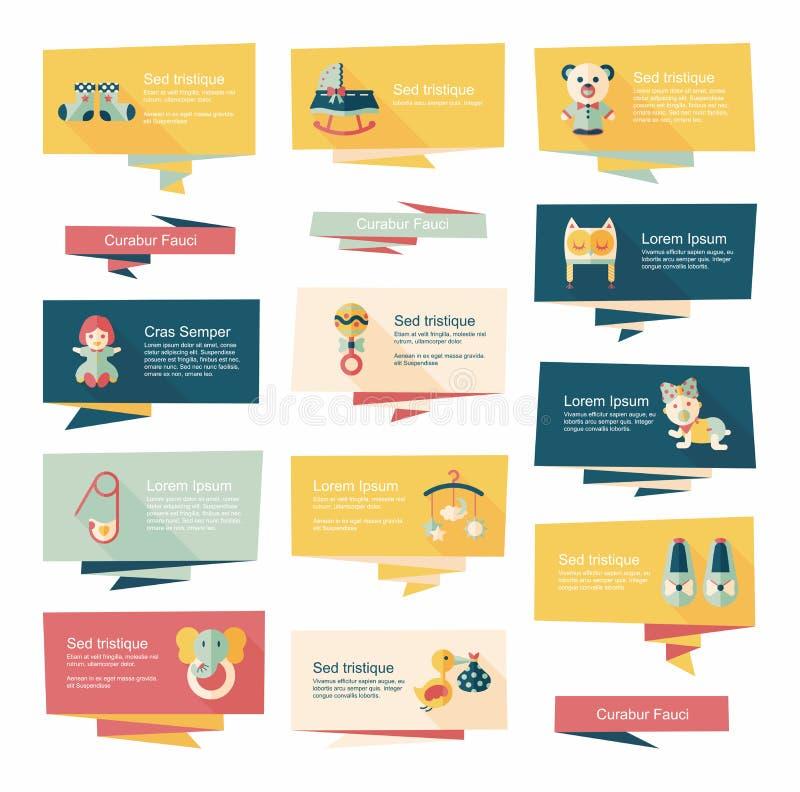 Insieme piano del fondo dell'insegna del bambino, eps10 illustrazione vettoriale